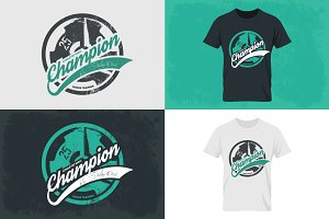 Fitness tee print vector set