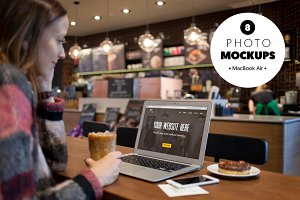 MacBook Air in the cafe - 8 mockups