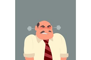 Illustration of an angry business man