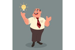 The businessman with a mustache pointing to the bulb
