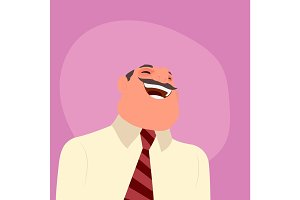 Illustration of a laughing businessman