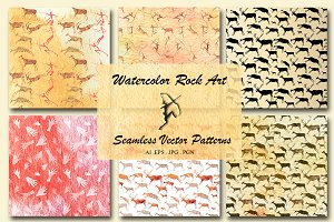Watercolor Rock Art Seamless Paterns