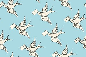 Seamless pattern with old school vintage bird and postal envelope