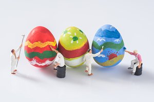 miniature people and easter eggs