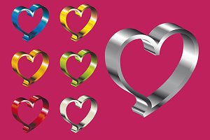Metallic Valentine hearts