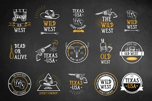 Set of vector wild west icons