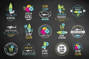 Set of vector surfing icons