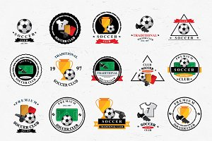 Set of vector soccer icons