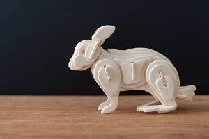 wooden rabbit model