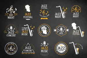 Set of vector jazz icons