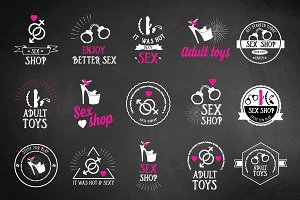 Set of vector sex shop icons