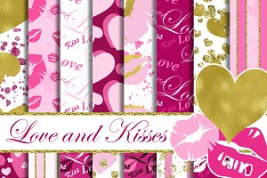 Love and Kisses digital paper