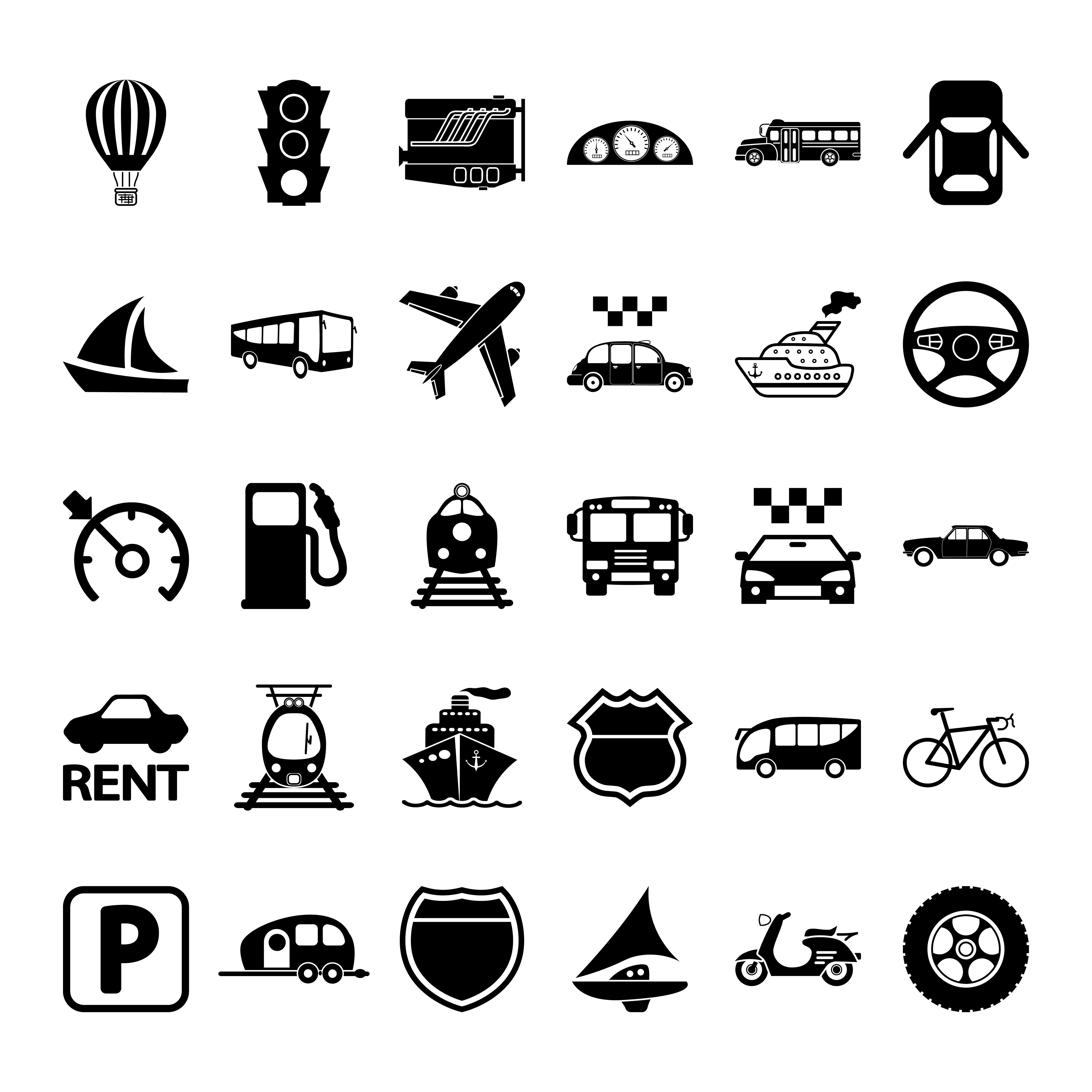Transportation icon set. ~ Icons ~ Creative Market