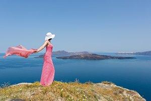 Woman in a long dress , Santorini