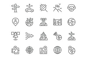 Line Global Navigation Icons