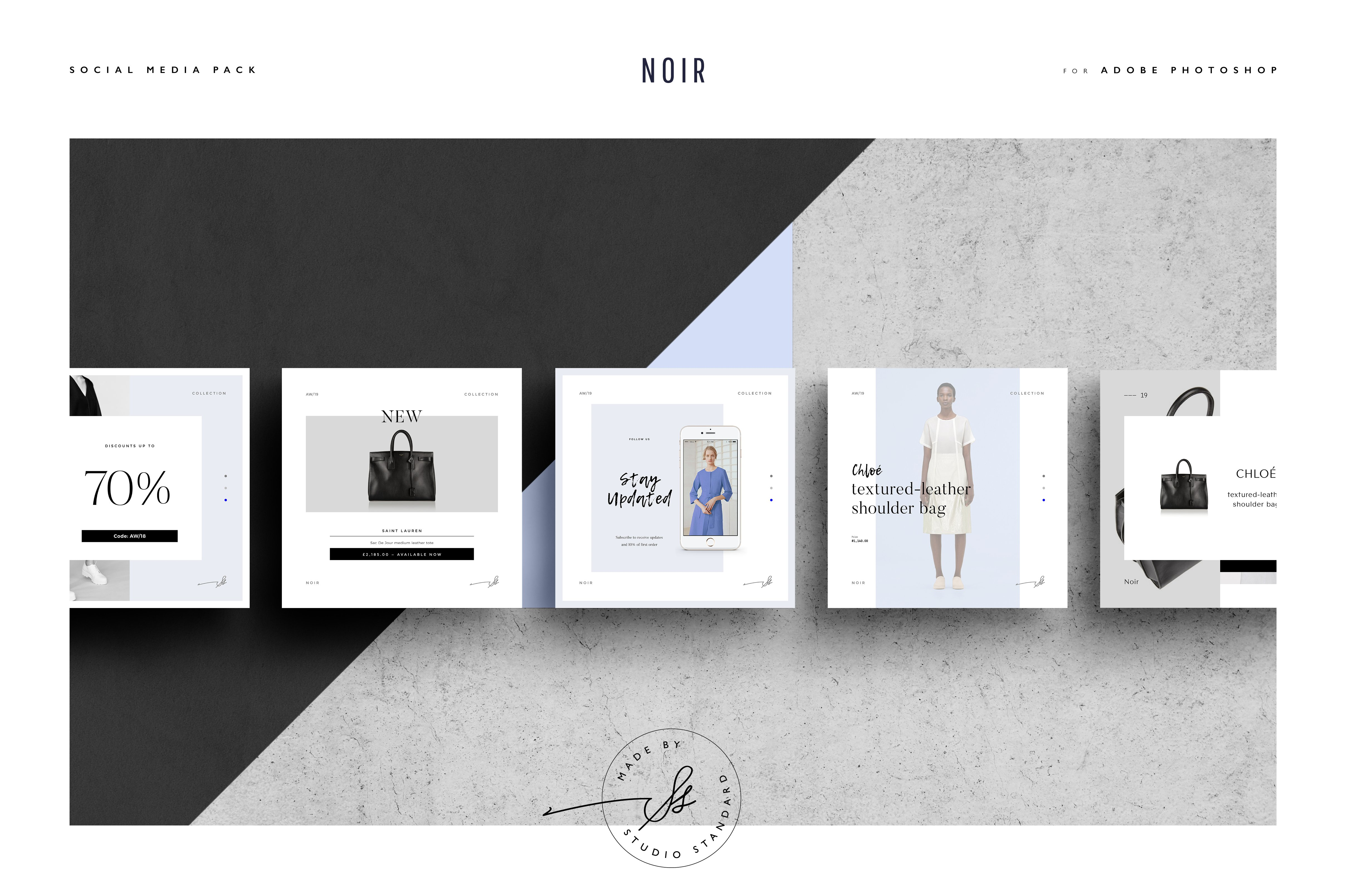 Noir social media pack instagram templates creative market fandeluxe Choice Image