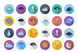 Weather color flat Icons set