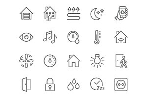 Line Smart House Icons