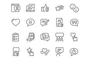 Line Testimonials Icons