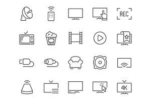 Line TV Icons