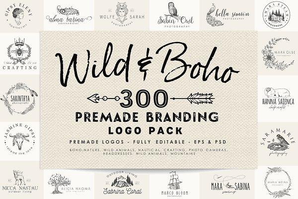 Wild and Boho Premade logo Bundle