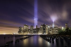 Manhattan skyline on 9-11