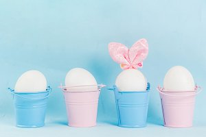 Easter eggs looking like bunnies