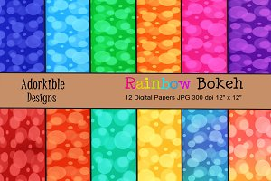 Rainbow Bokeh Digital Papers
