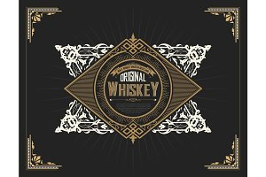 Whiskey label hand drawn