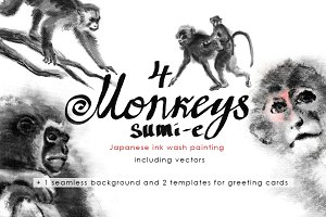 Monkeys Sumi-e.