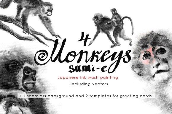 Monkeys Sumi-e
