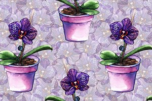 Watercolor orchid seamless pattern