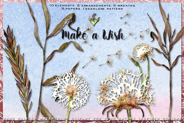 Dandelion Wishes Watercolor Clipart