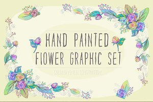 Hand Painted Flower Graphic Set