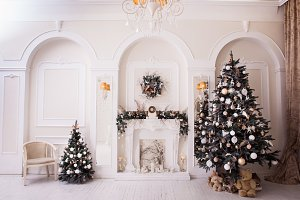 New Year time in white living room.