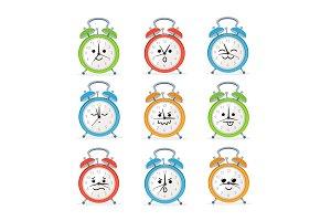 Alarm Clock Characters Mascot Set.