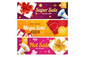 Big Sale Banner Card Set.