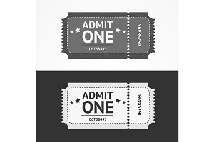 Ticket Icon Blank Admit Set.