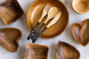 Set of various wooden utensils, top view