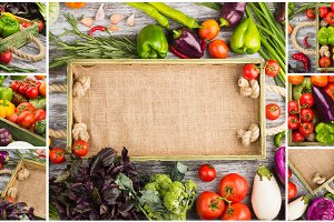 Collage made from different fresh raw colorful vegetables in the wooden tray