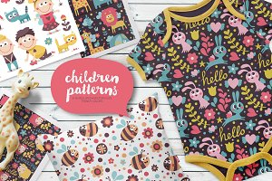 Set of 6 Seamless Children Patterns
