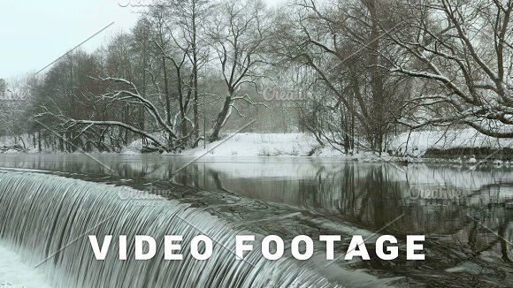 Waterfall In The Winter Park Used Professional Gimbal Stabilazer