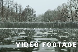 Cascade of the water on the lake. Used professional gimbal stabilazer
