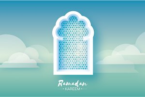 Ramadan Kareem. Origami Mosque Window. Holy month. Paper cut Cloud. Space for text