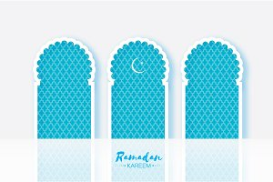 Ramadan Kareem. Three 3 Origami Mosque Window. Holy month. Paper cut gallery. Space for text