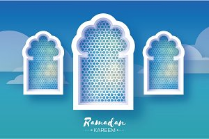 Ramadan Kareem. Three 3 Origami Mosque Window. Holy month. Paper cut Cloud. Space for text