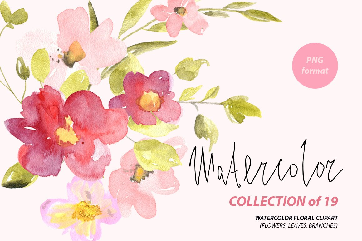 Watercolor red pink flowers png graphics creative market mightylinksfo Image collections