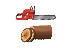 Axeman saw and stump isolated on white background. Gas chainsaw