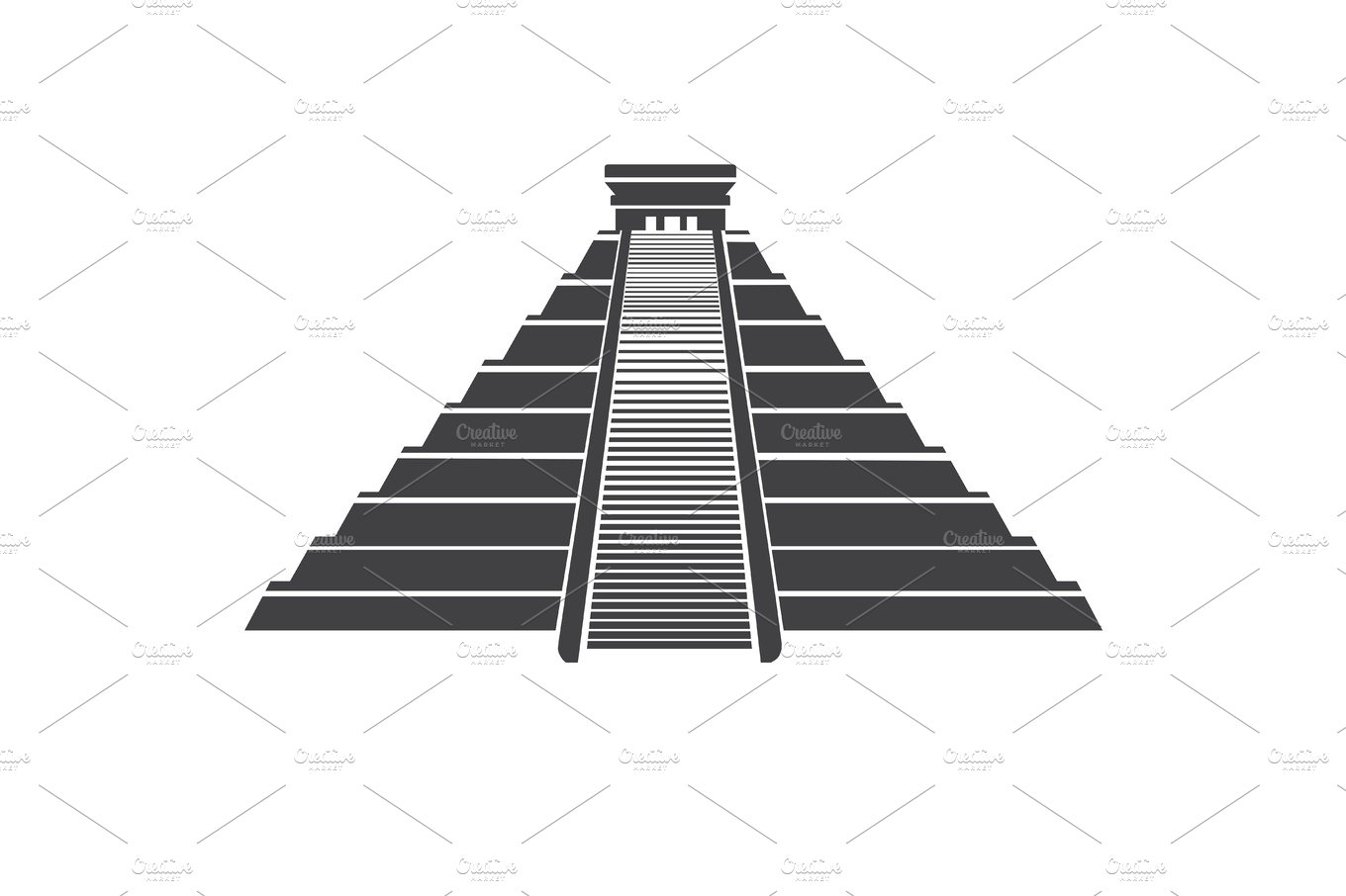 Aztec pyramid icon isolated on whit. Mayan landmark in Mexico ...