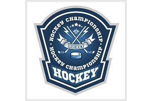 Hockey championship logo labels. Vector sport design